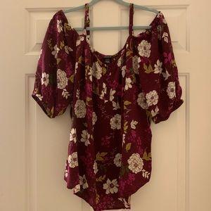 TORRID cold shoulder floral blouse